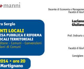 """Martignano: presentazione del libro """"Il Diritto degli Enti Locali"""" di Luigino e Sara Sergio"""