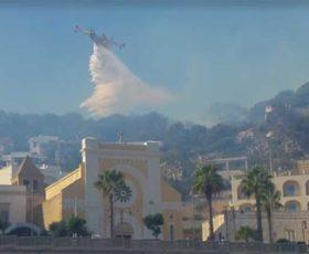 Vasto incendio a Santa Cesarea. Distrutta una pineta, evacuati alberghi ed abitazioni